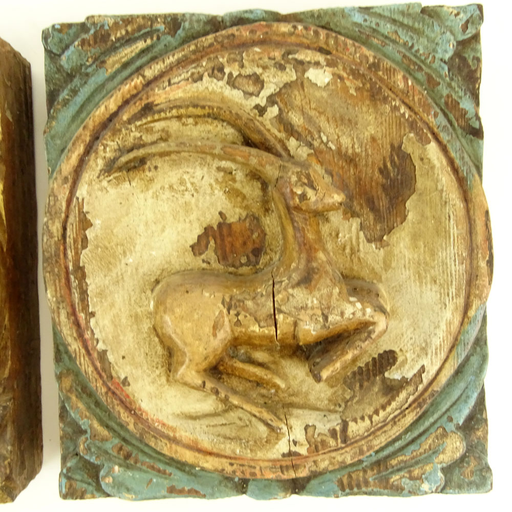 Two (2) Early 20th C Addison Mizner Carved Painted Wall Plaques ...