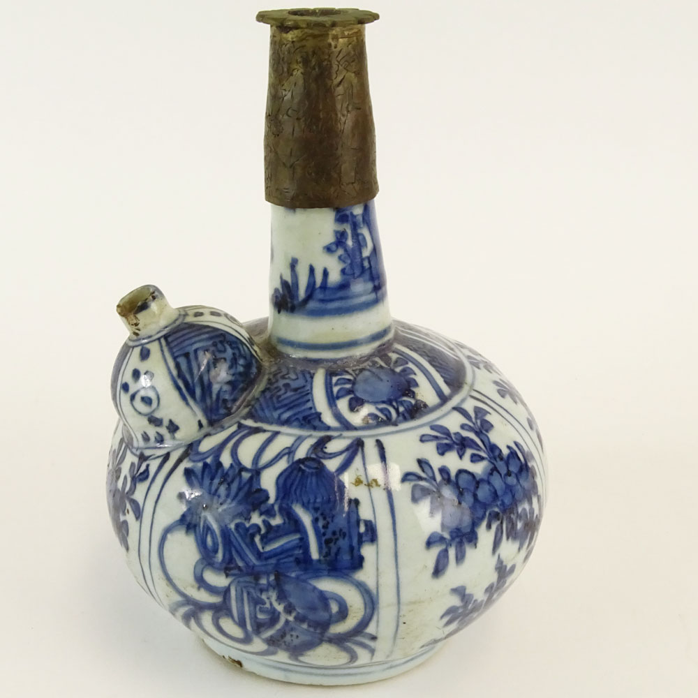 Chinese Ming Dynasty Blue And White Porcelain And Brass