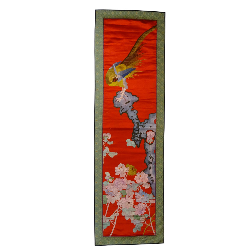 20th Century Chinese Silk Embroidered Wall Hanging Depicting colorful dragons