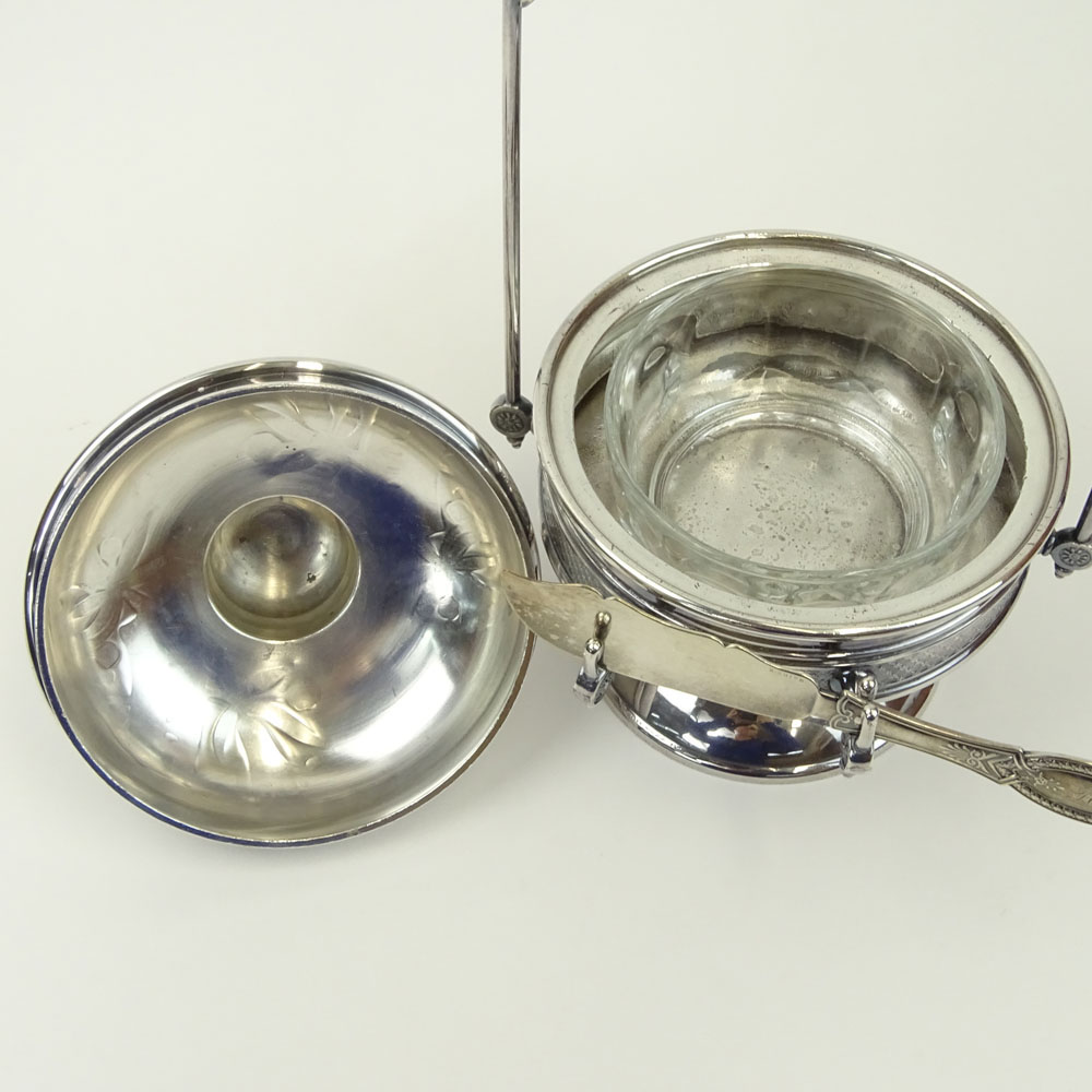 Victorian Pairpoint Silver Plate Butter Server with Knife.