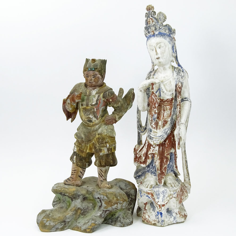 Lot of 2 Chinese Polychromed Carved Wood Figures.