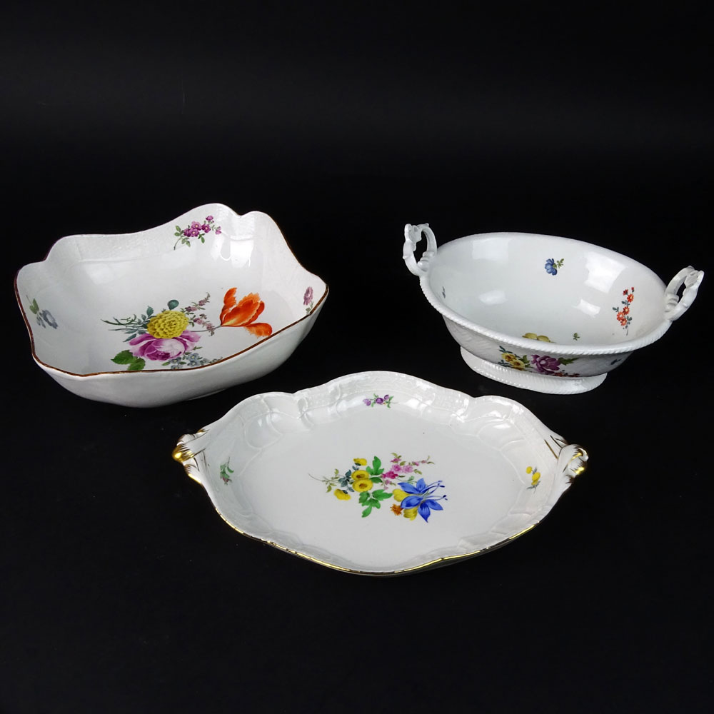 Lot of Three (3) Antique Meissen Hand Painted Porcelain Serving Dishes.