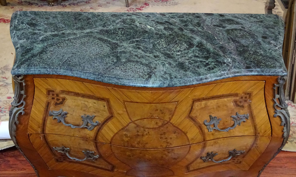 Louis XV Style Bronze Mounted Inlaid 2 Drawer Commode.