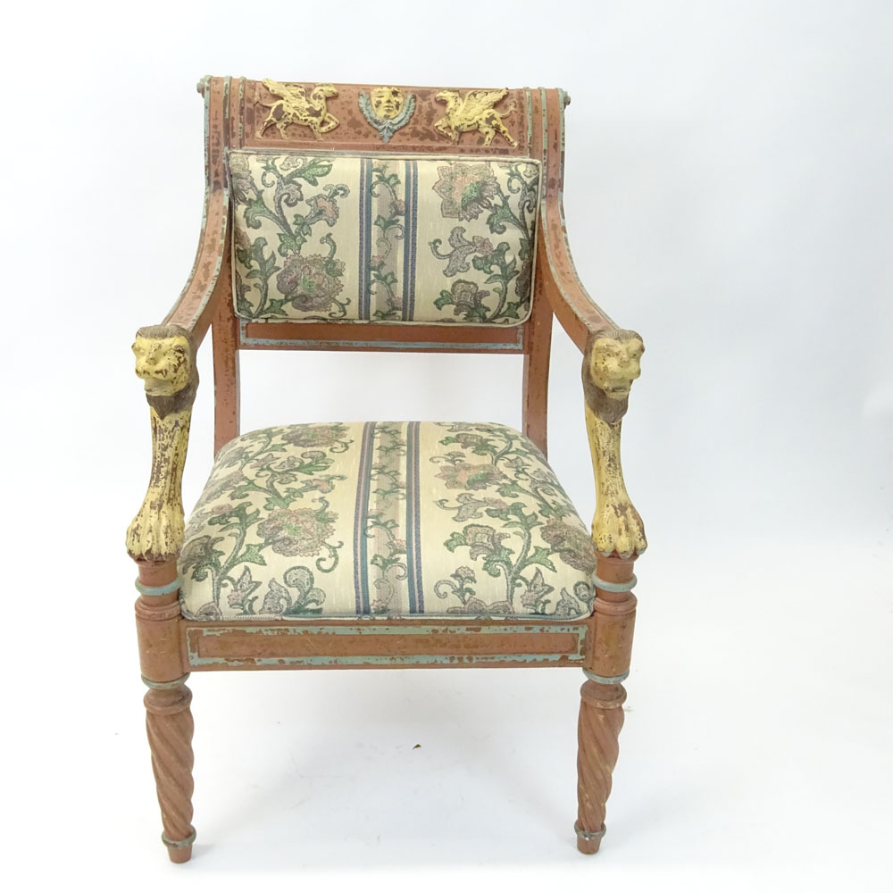 Regency Style Figural Upholstered Arm Chair. Distressed motif.