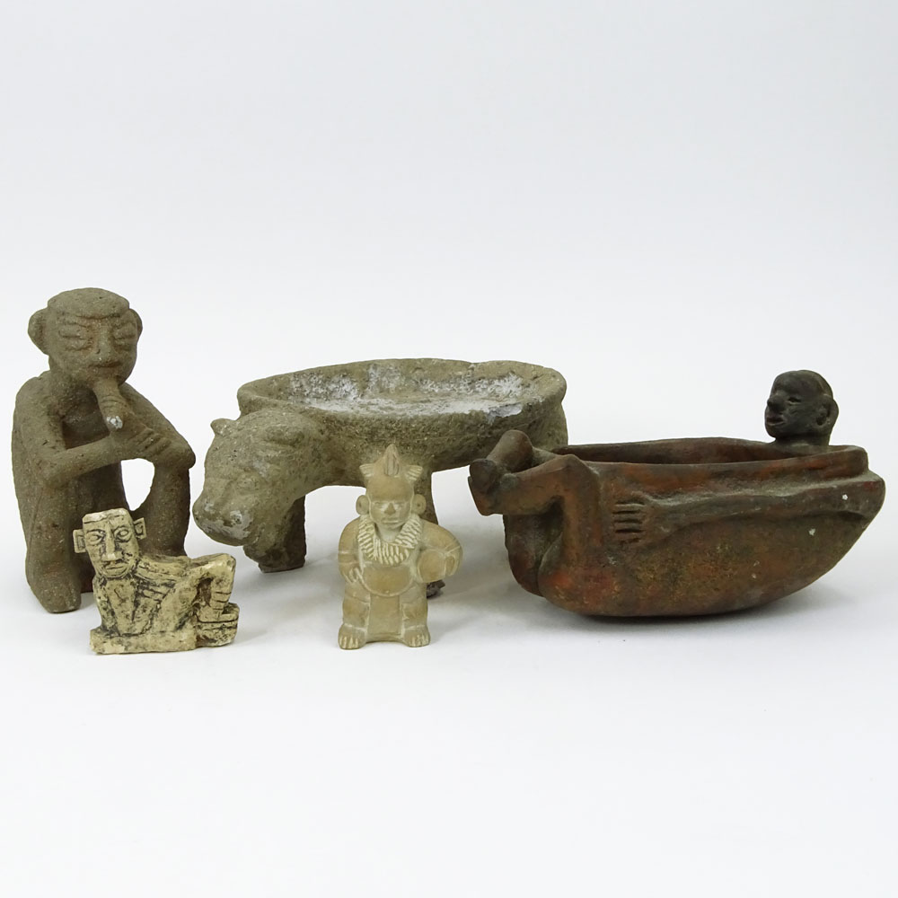 Lot of 5 Vintage Pre-Colombian Style Pottery Figures and Vessels.
