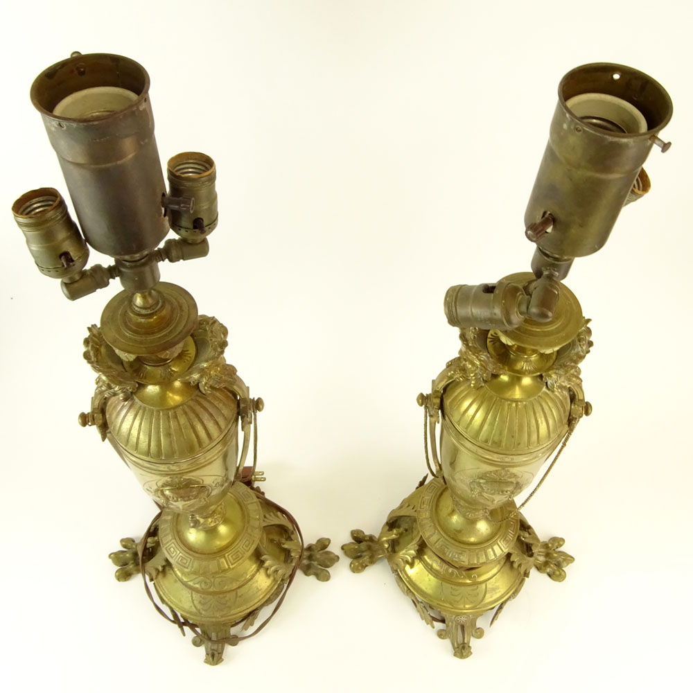 Pair of Antique Victorian French Figural Brass Lamps.