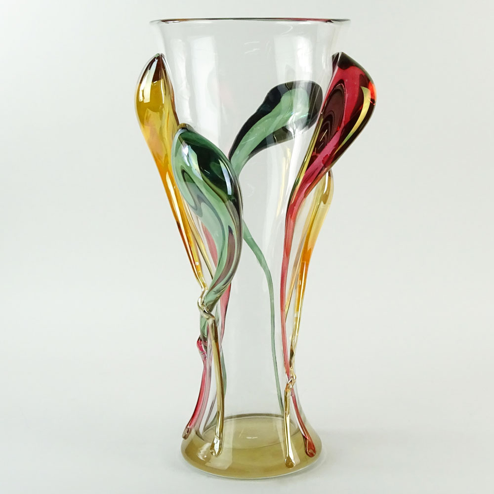 Monumental Ion Tamian Contemporary Romanian Art Glass Vase With Applied Decoration.