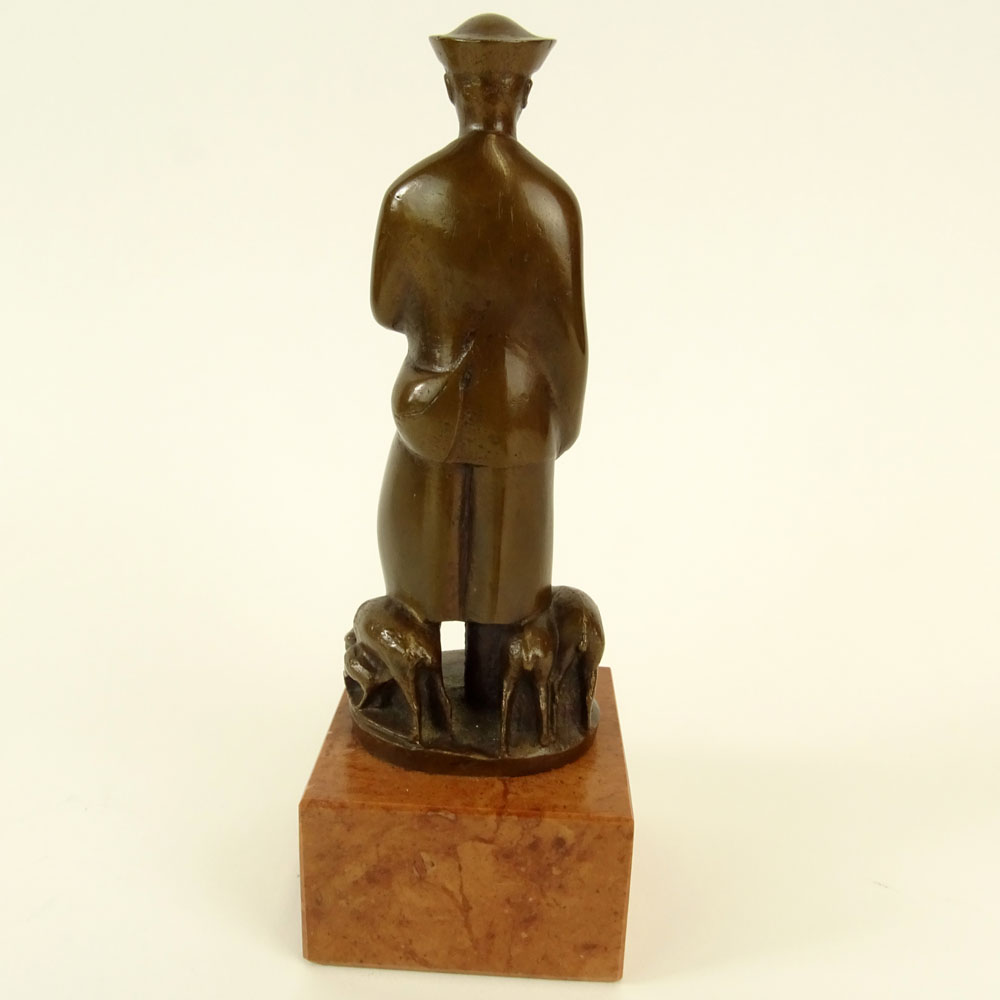 "Juhasz Olcsay-Kiss, Hungarian (20th C) Bronze Figurine on rouge marble base ""Shepard"""
