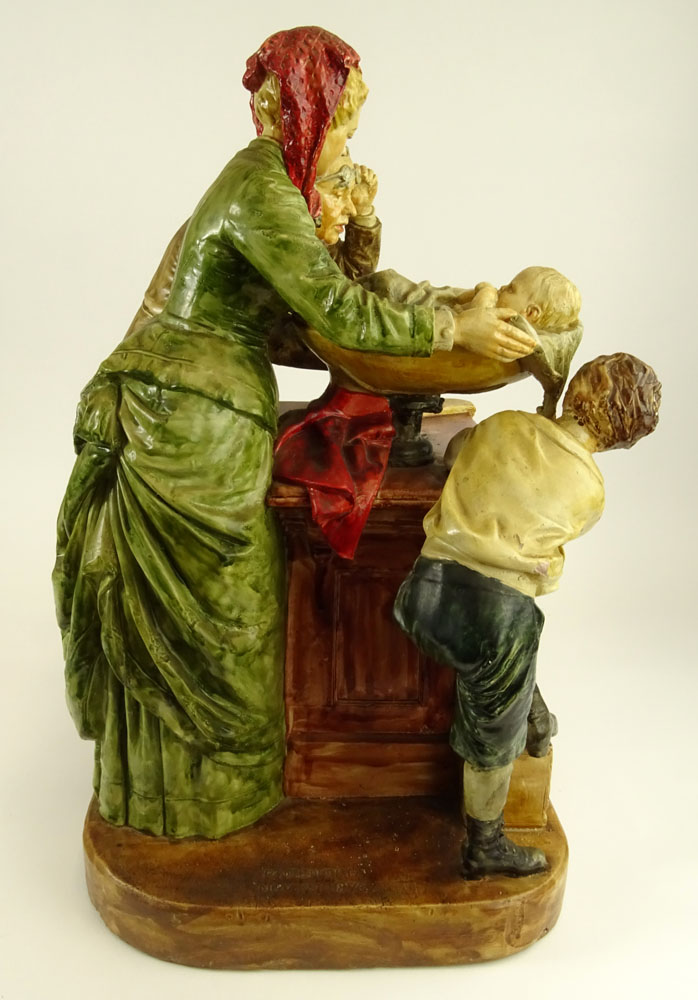 John Rogers (AMERICAN, 1829-1904) Polychrome  Plaster Sculpture, Weighing the Baby.