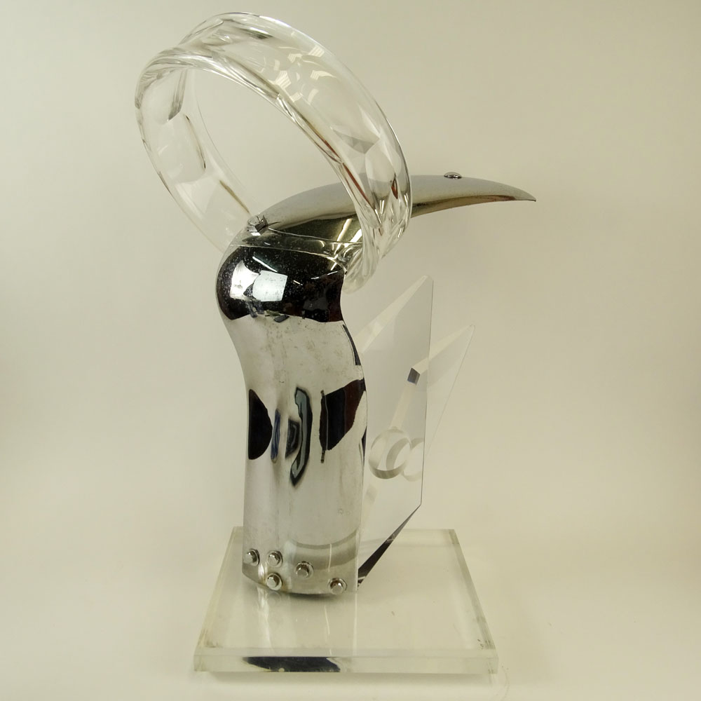 Rona Cutler Mid-Century Modern Lucite and Chrome Sculpture.