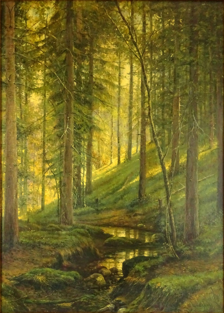 "Antique Russian Oil on Canvas ""Wooded Landscape"" Bears signature I. Shishkin."