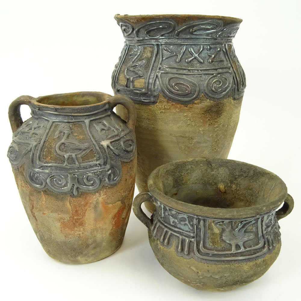 Lot of 3 Domar Israeli Studio Pottery Vessels with Applied Silver Decoration.