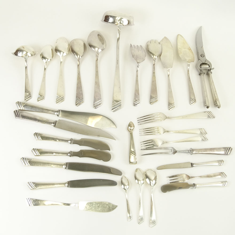 Impressive 182 Piece Set of OKA Sterling Silver Flatware in Custom Wood Chest.