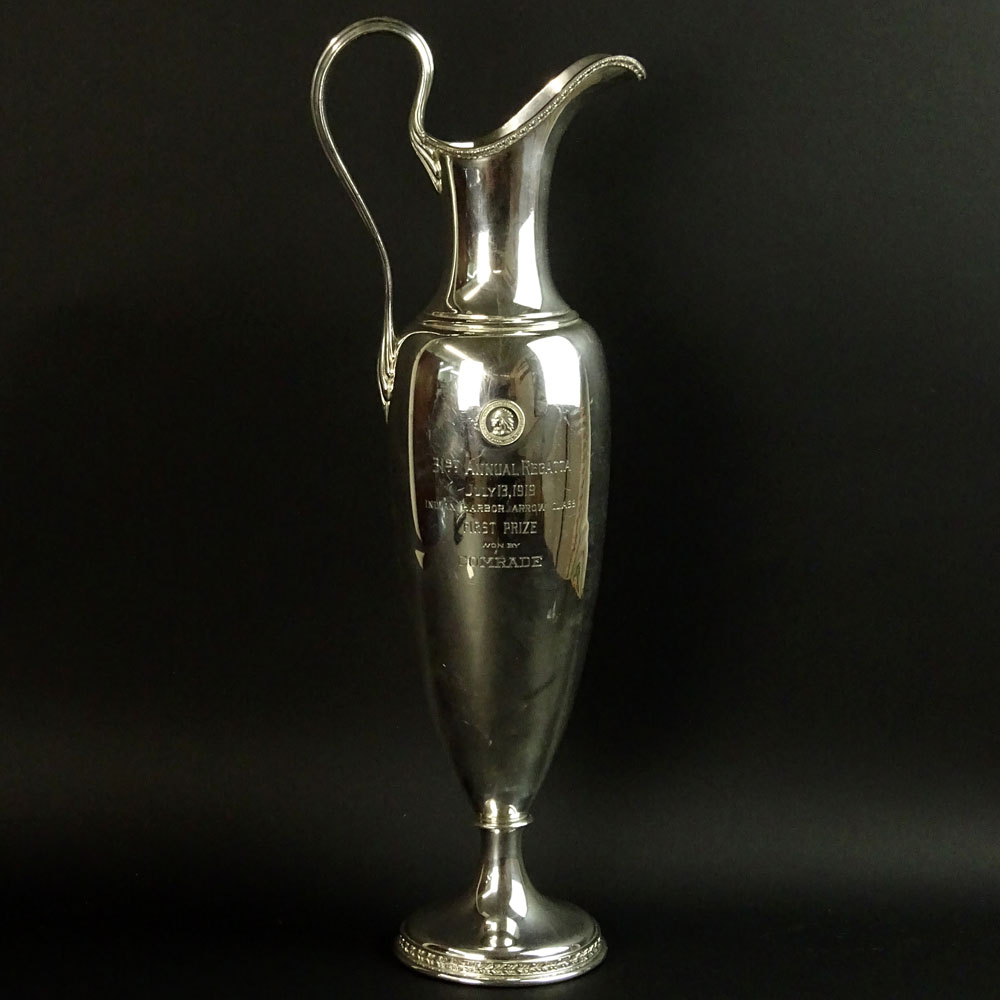 Circa 1919 Black Starr & Frost Silver Plate Ewer Form Sailing Trophy.