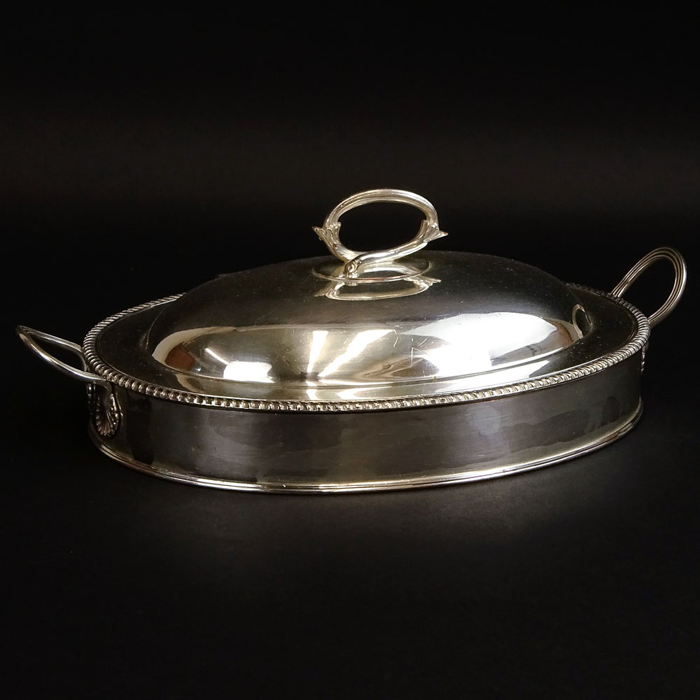 19/20th Century English Silverplate Covered Warming Dish with Silver Mounts (handles).