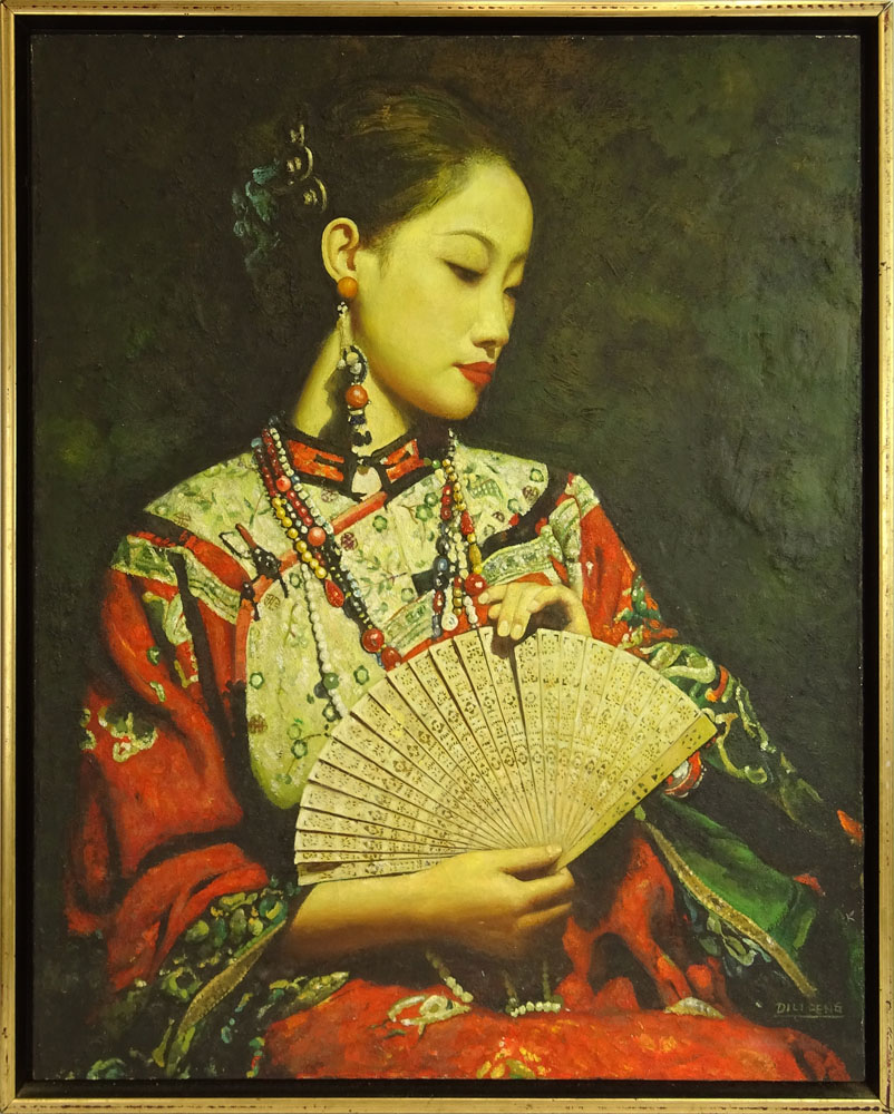 "Di Lifong / Di Lifeng, Chinese (B. 1958) Oil on Canvas ""A Little Fan""."