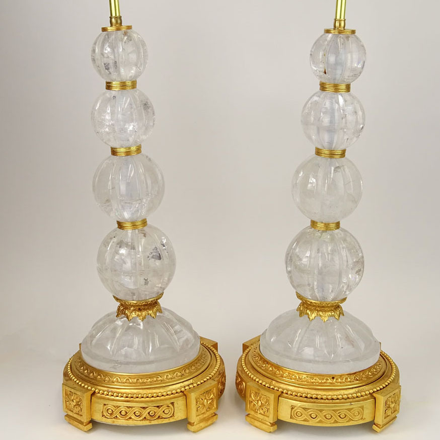 Large Pair of Rock Crystal & Dore Bronze Lamps.