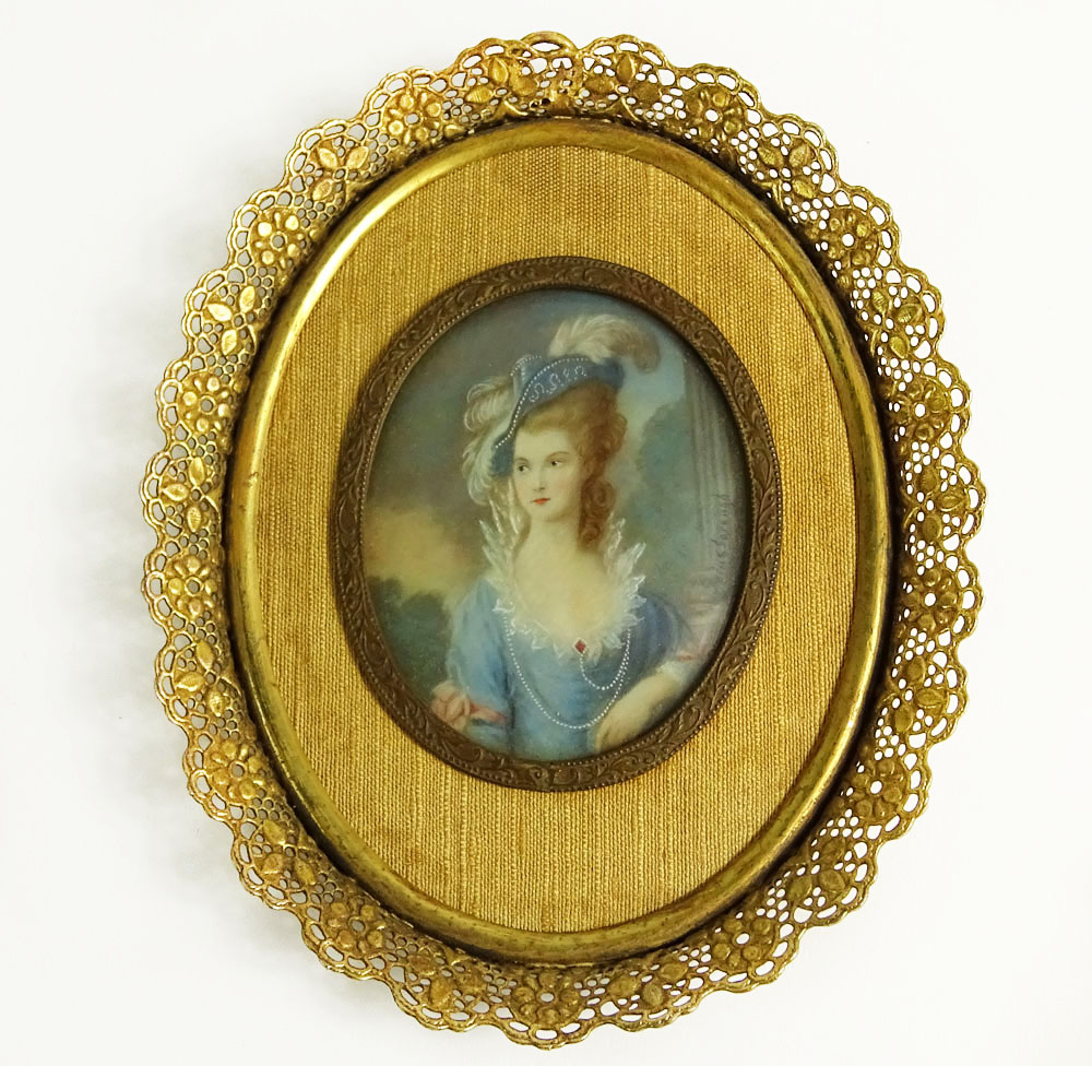 after: Thomas Gainsborough, British (1727-1788), Painted Portriat Miniature on Ivory.