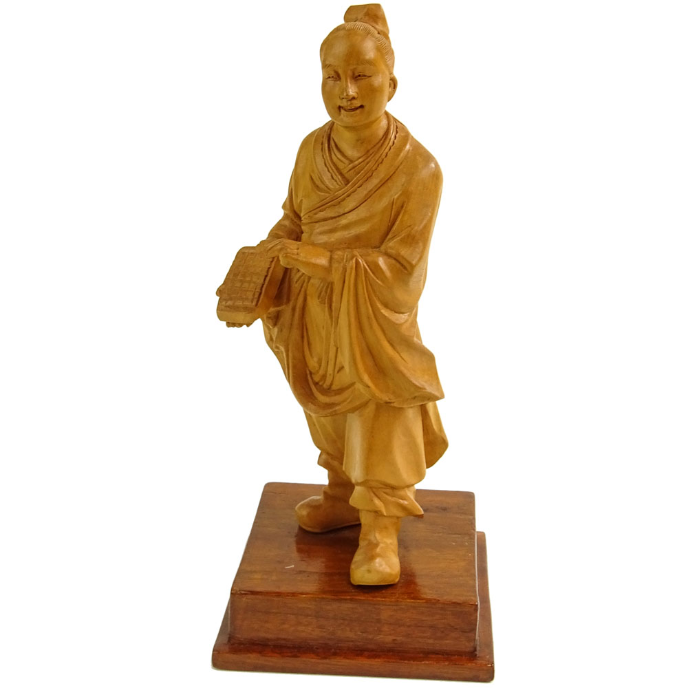 Vintage Chinese Carved Boxwood Cultural Revolution Teacher Figurine.