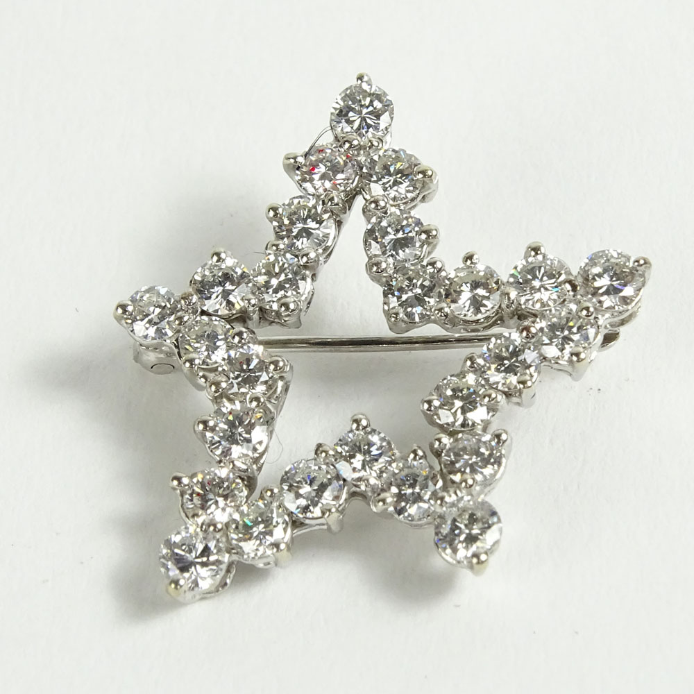 Vintage Approx. 2.50 Carat Round Cut Diamond and 18 Karat White Gold Star Brooch.
