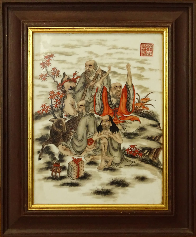 Antique Chinese Hand Painted Porcelain Plaque.