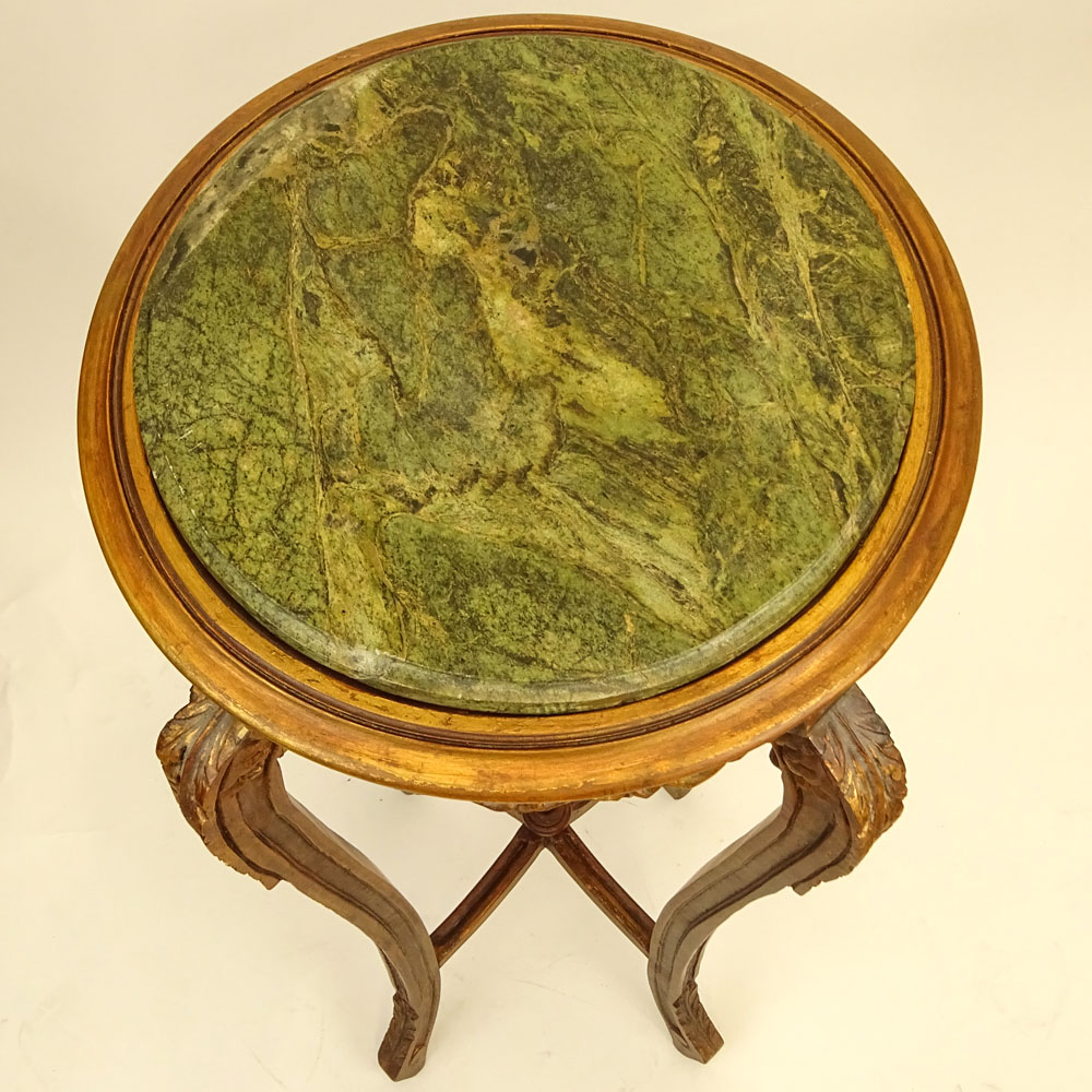 Marble And Carved Wood Accent Table: Modern Carved Wood Pedestal Table With Green Marble Top
