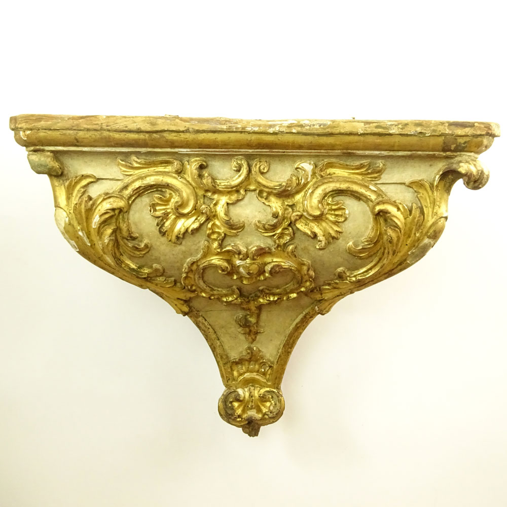 19/20th Century Probably Italian Carved Parcel Gilt Wood Wall ...