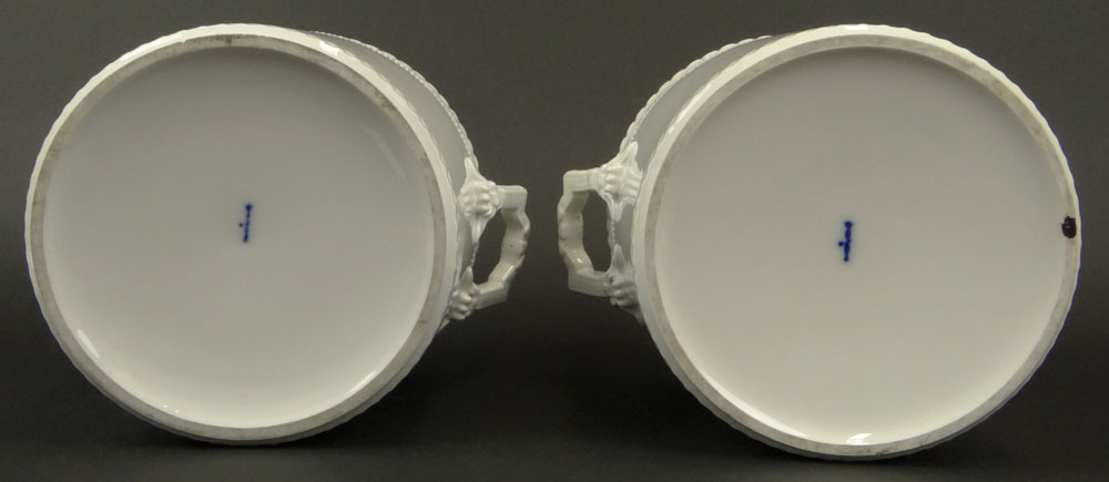 Pair 19/20th Century White Porcelain Fruit Coolers With Lids.