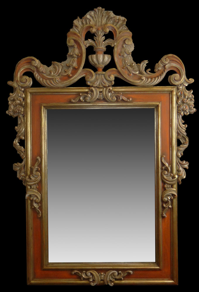 Vintage Decorative Carved Gilt Wood Mirror. Foliate Motifs with Stylized Urn Top.