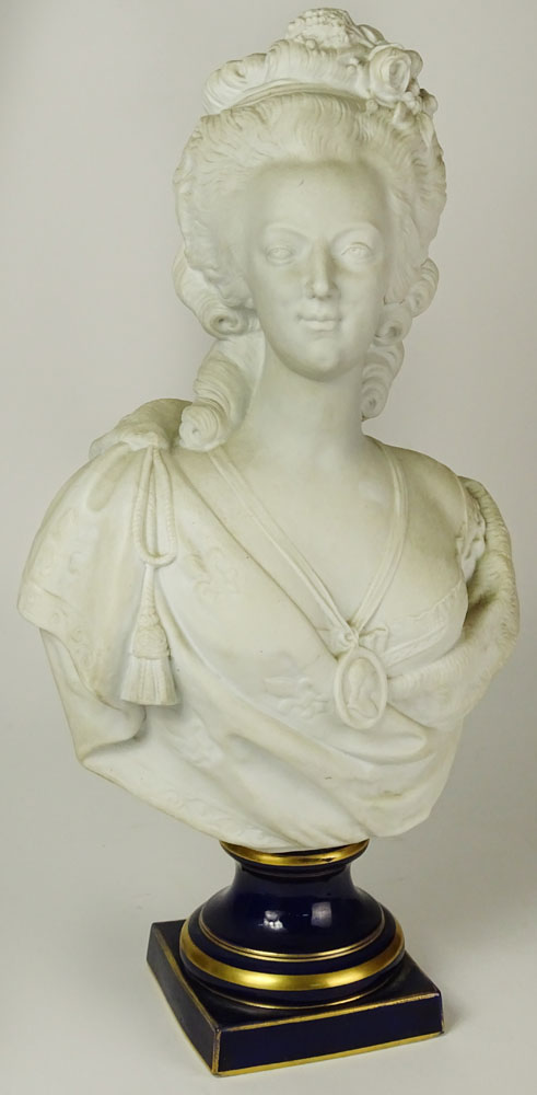 "after: Felix Lecomte, French (1737-1817) Bisque Bust on Cobalt Porcelain Base ""Marie Antoinette""."