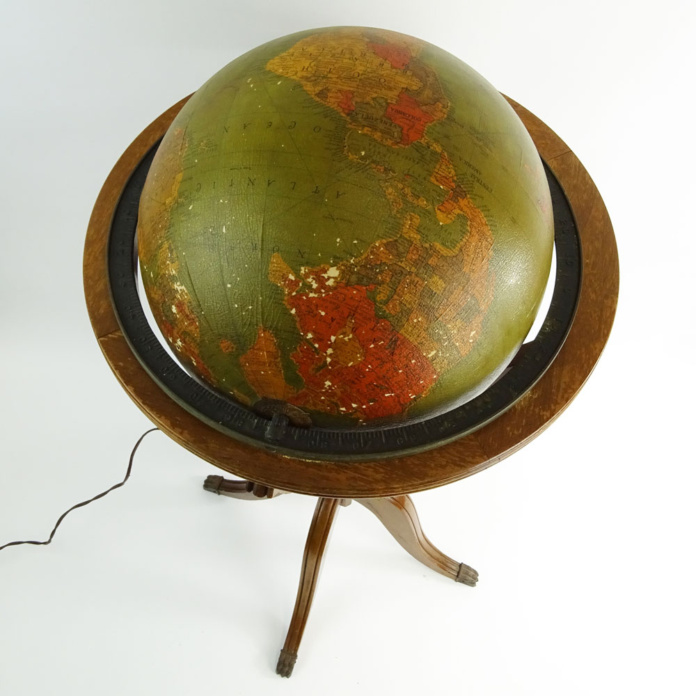 Vintage Lighted Glass World Globe on Wood Stand.
