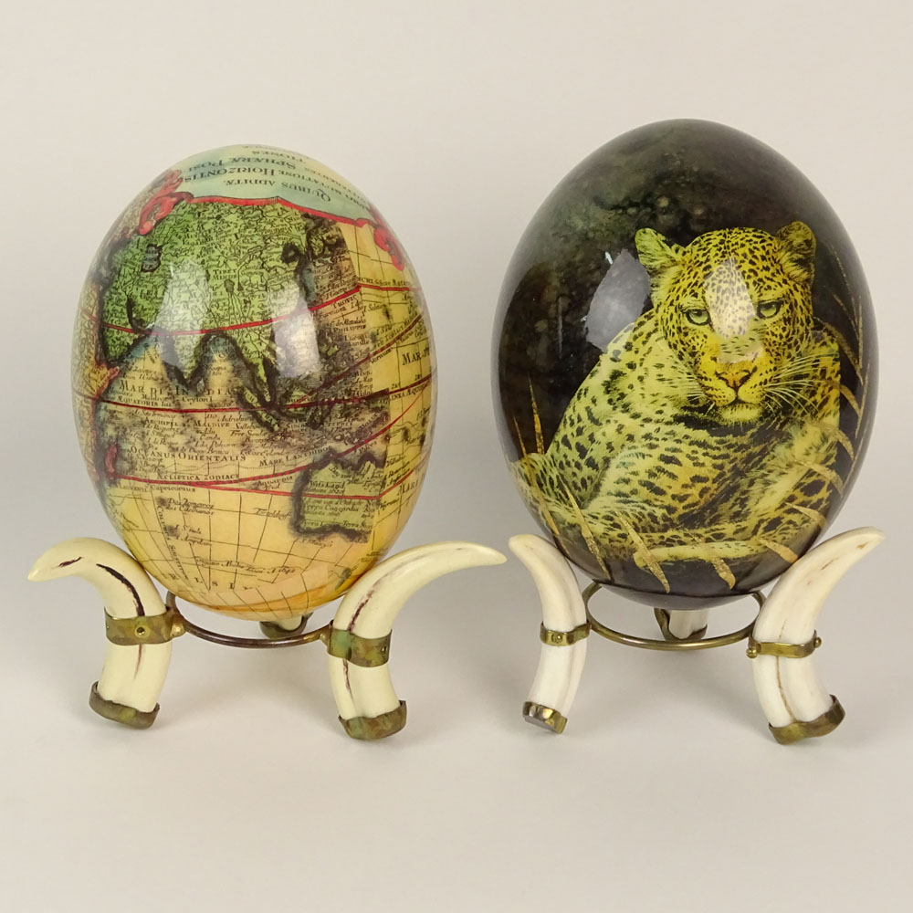 Pair of south african decoupage ostrich eggs on boar tusk stands pair of south african decoupage ostrich eggs on boar tusk stands negle Choice Image