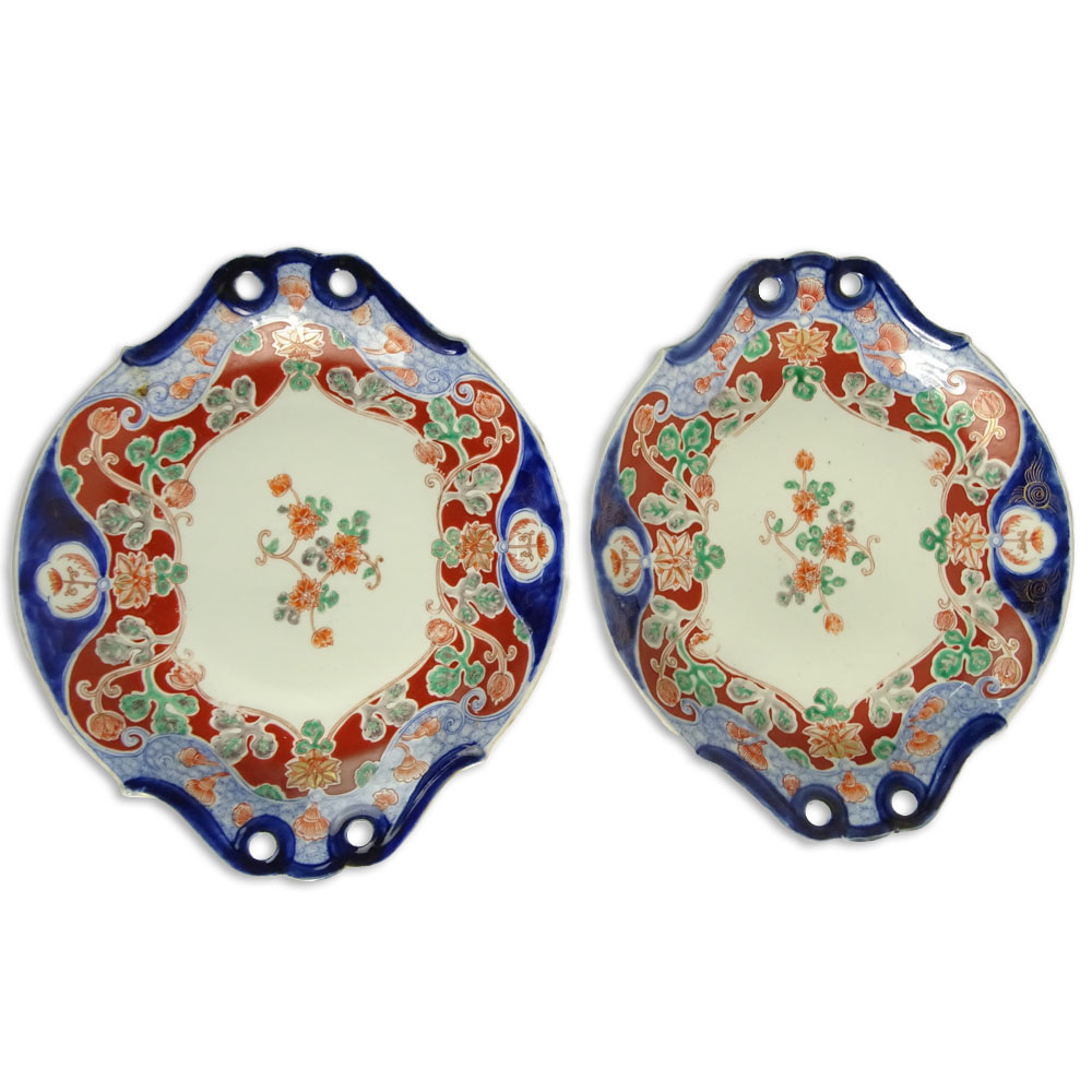 Pair of Vintage Imari Porcelain Serving Dishes. Unsigned.