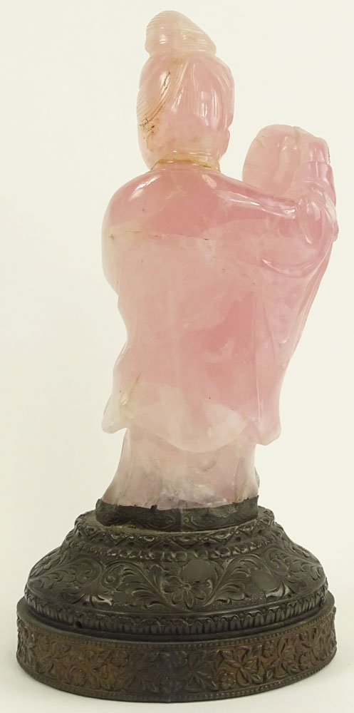 "Antique Chinese Carved Rose Quartz Figurine on Brass Base. ""Woman in Flowing Robe""."