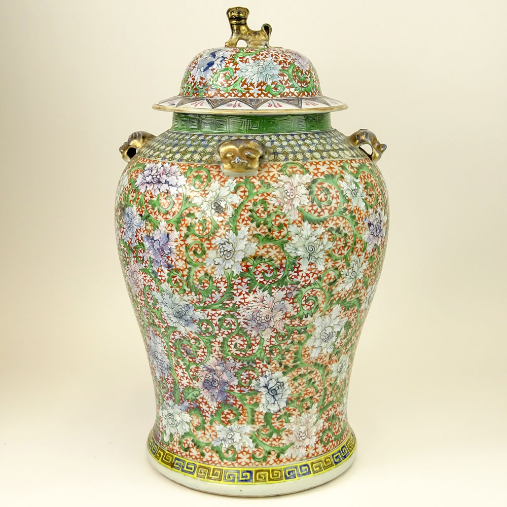Large Chinese Hand Painted Enameled Ginger Jar.