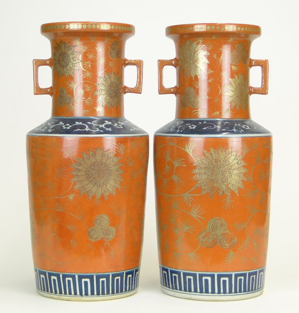 Pair of Mid to Late 20th Century Chinese Painted Porcelain Vases.
