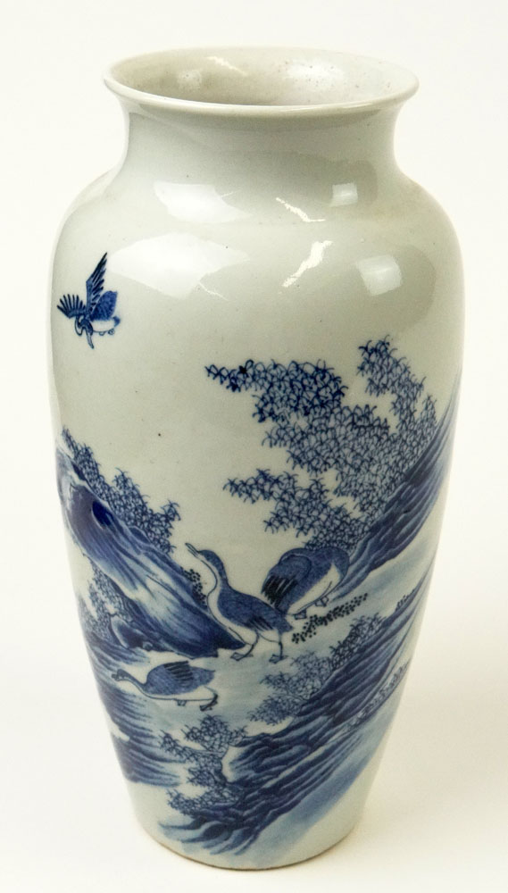 Chinese Blue and White Decorated Small Vase with Ducks Motif.