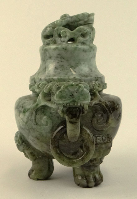 20th Century Chinese Jade Covered Incense Burner with Tripod Feet.