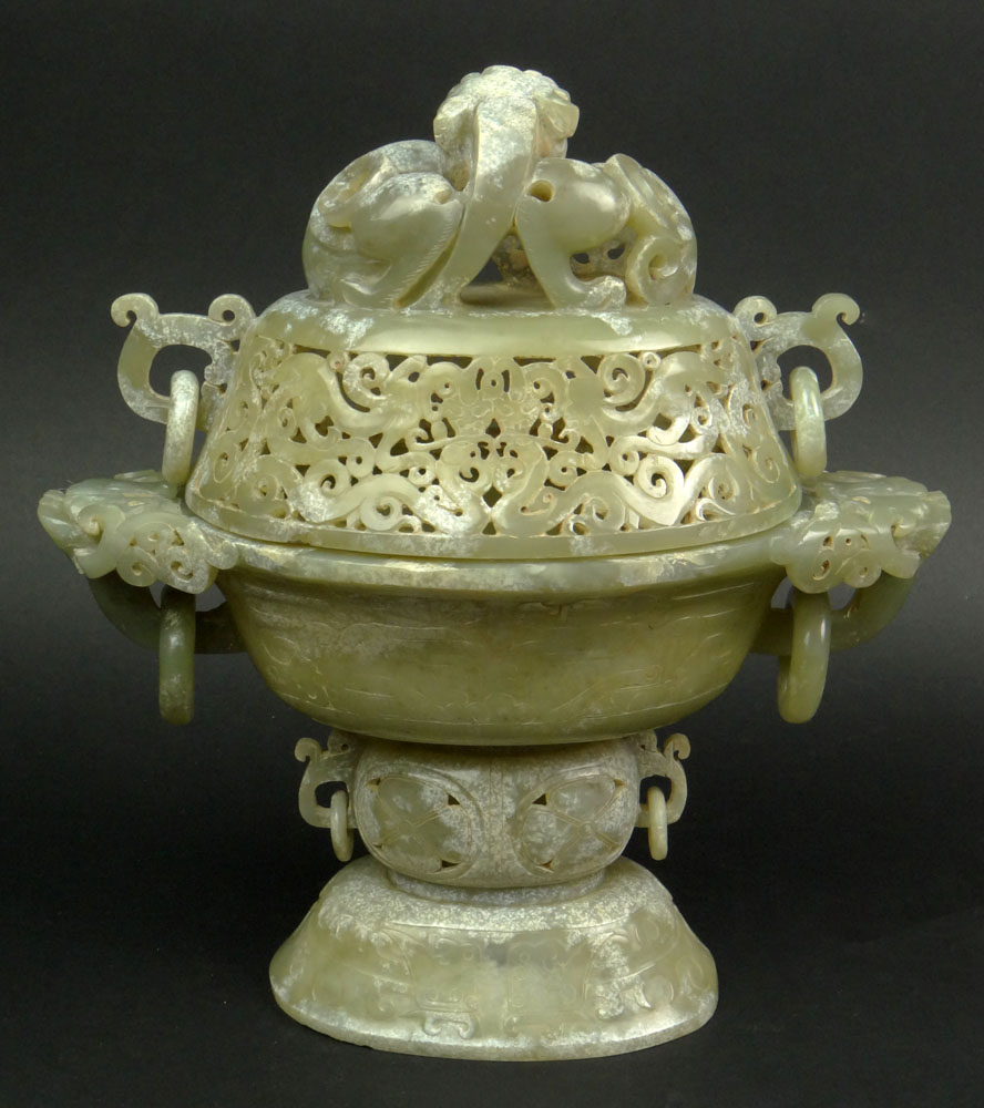 Chinese Carved and Reticulated Mottled Jade Covered Sensor with Chilong Finial and Dragon with Ring Handles.