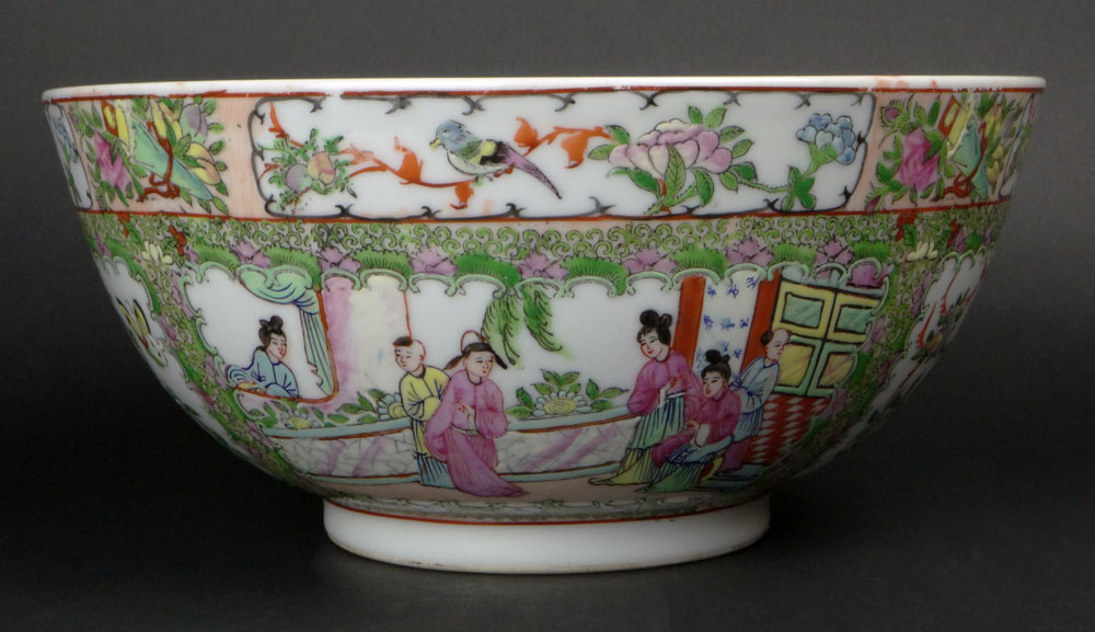 Chinese Porcelain Rose Medallion Punch Bowl.