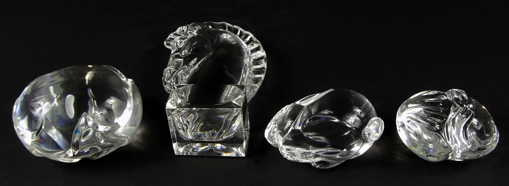 Lot of Four (4) Glass Animal Figurines, Three (3) Steuben.