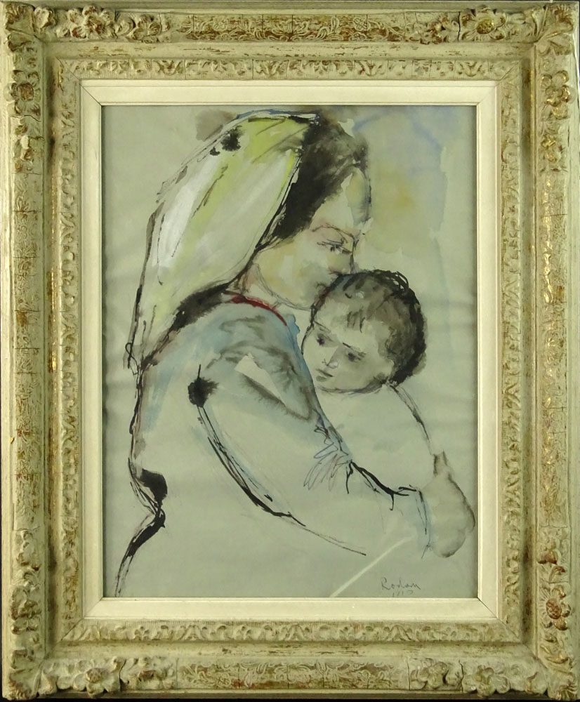 "Jehuda Rodan, Israeli  (1916-1985) Watercolor ""Mother and Child""."