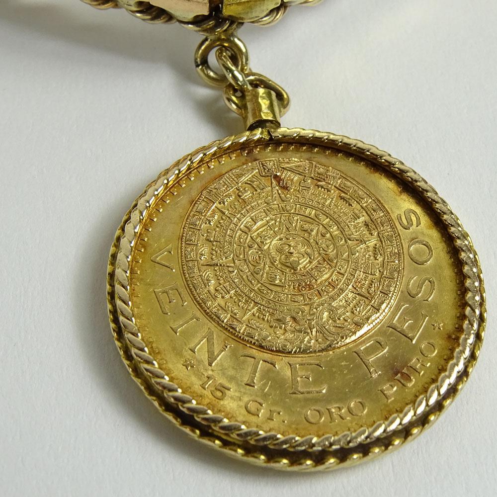 Vintage 14 Karat Tri Color Gold Bracelet With Bezel Set