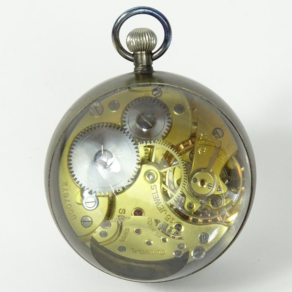 Vintage 1935 Omega Swiss Hand Painted Erotic Glass Ball Clock.