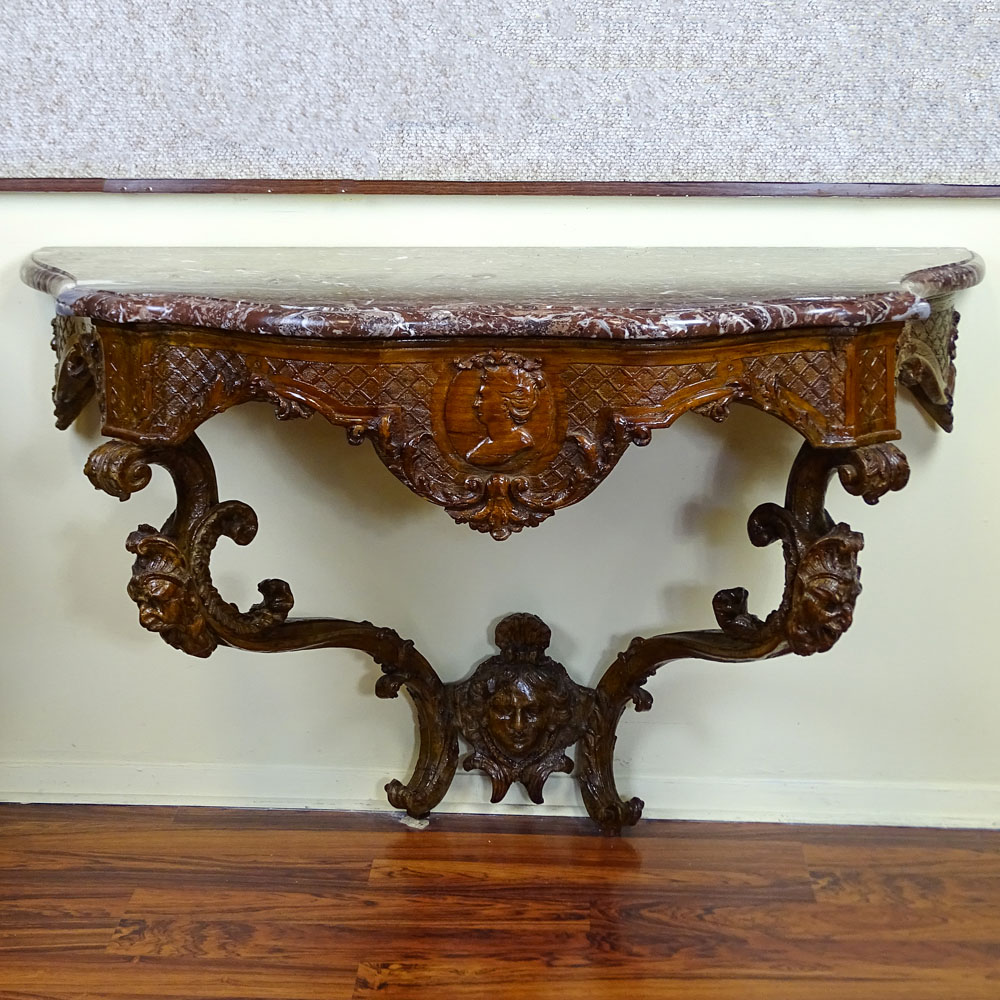 18th Century French Carved Fruitwood Wall Hung Console with Later Marble Top.