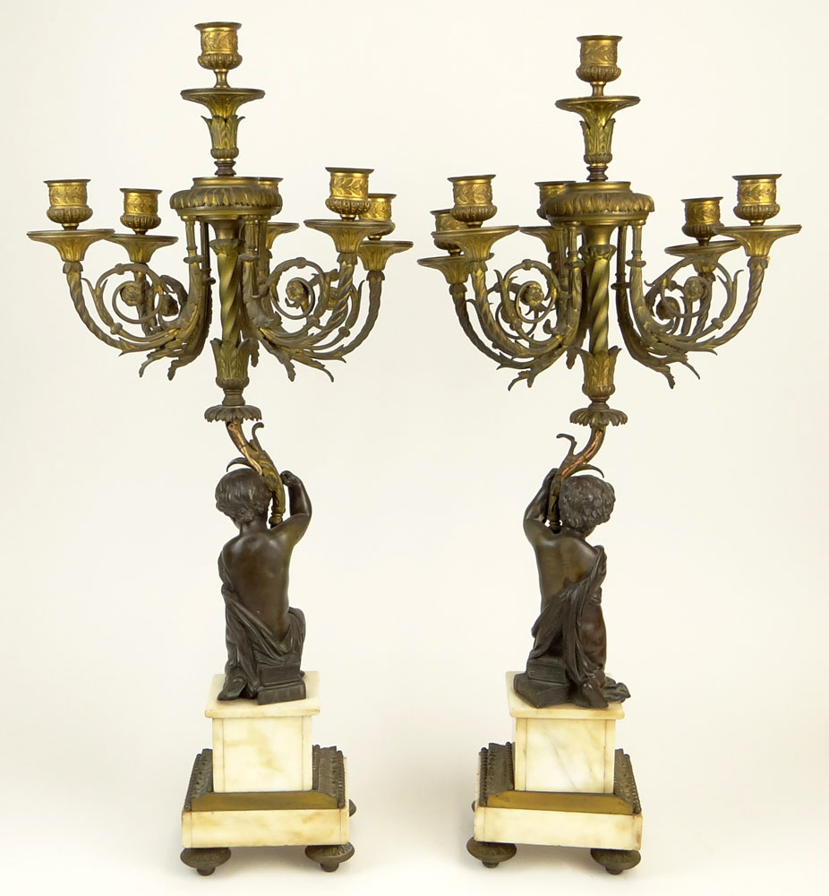 Pair of Antique French Bronze and Marble Figural Six Light Candelabra.