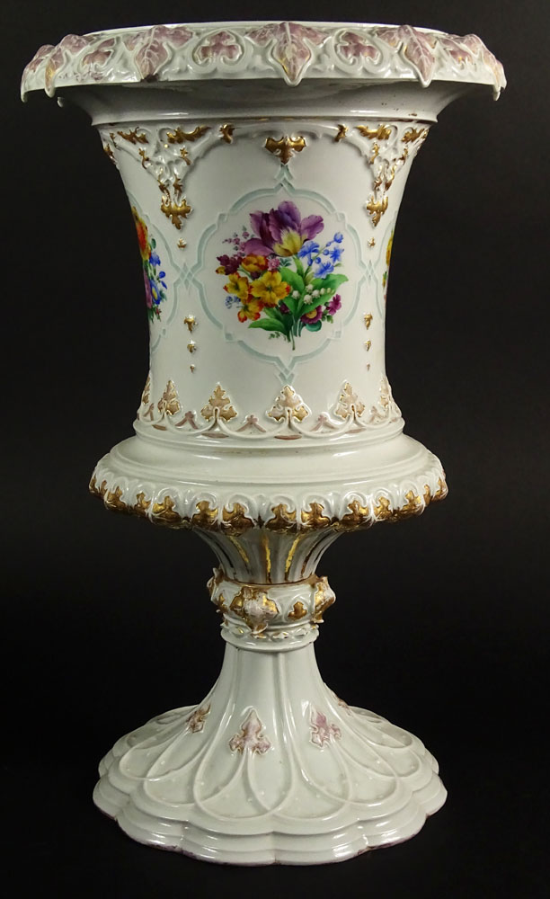 Large Impressive 19/20th Century Meissen Hand Painted Porcelain Bolted Urn with Floral Decoration.