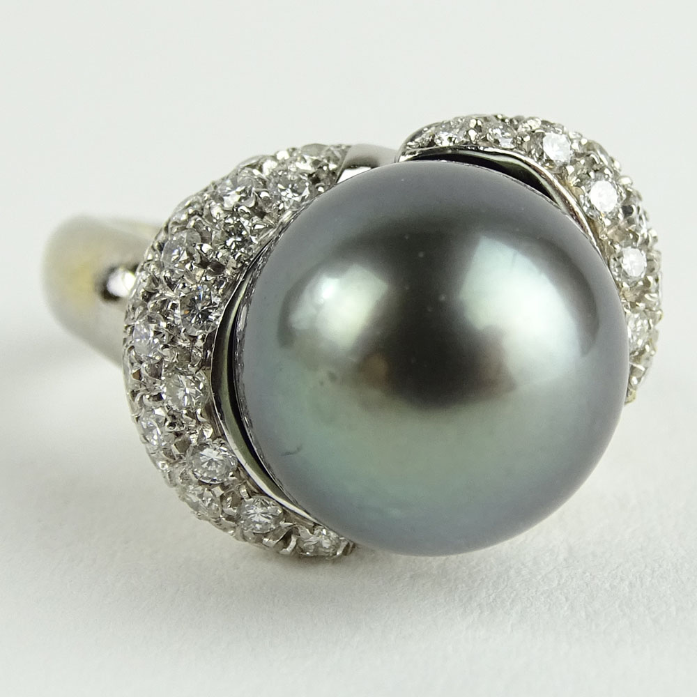 Vintage 12.5mm Tahitain Black Pearl, 1.0 Carat Pave Set Round Cut Diamond and 14 Karat White Gold Ring.