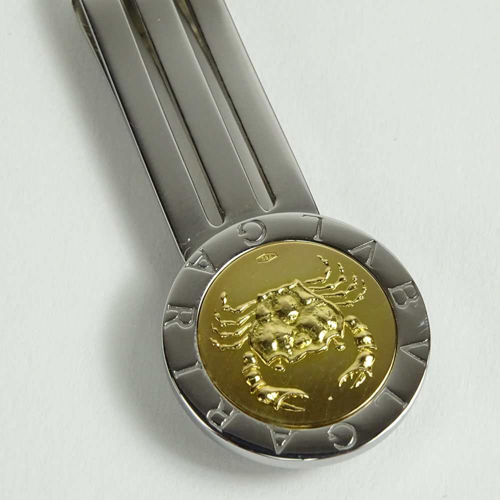 Bulgari 18 Karat Yellow Gold and Stainless Steel Cancer Zodiac Money Clip.