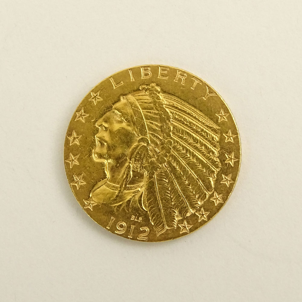 US 1912 $5 Indian Head Gold Coin.